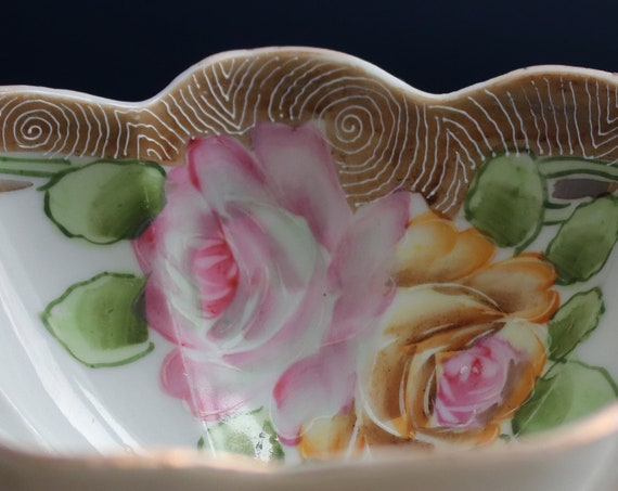 Scalloped, Footed, Floral Porcelain Bowl with Moriage, Marked Japan