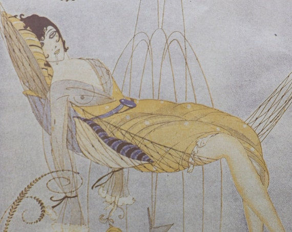 """Original Print """"Nonchalance"""" by Umberto Brunelleschi, from a 1917 issue of the Magazine Fantasio"""