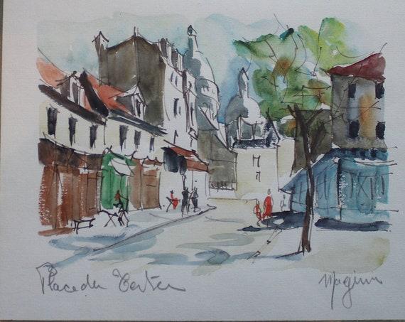 Place du Tertre (Montmartre) Watercolor and Ink