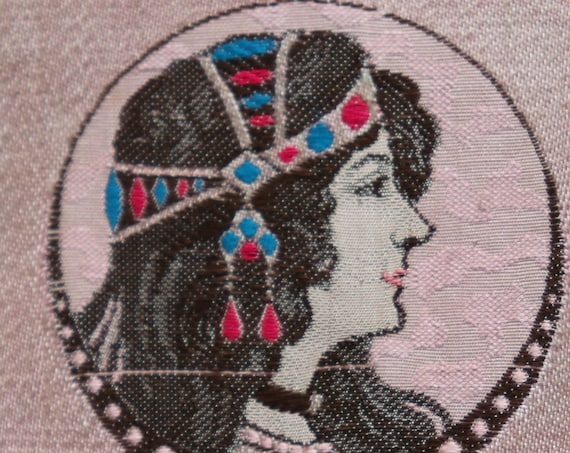 Antique, French, Art Nouveau Woven Fabric of Mucha-esque Woman- Two Available/Sold Separately