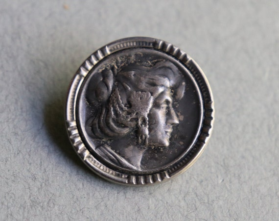 French, Art Nouveau Era, Metal Button with Woman in Profile