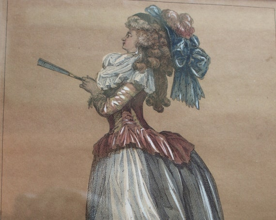 Original Hand-Colored French Fashion Plate Engraving, Circa 1778
