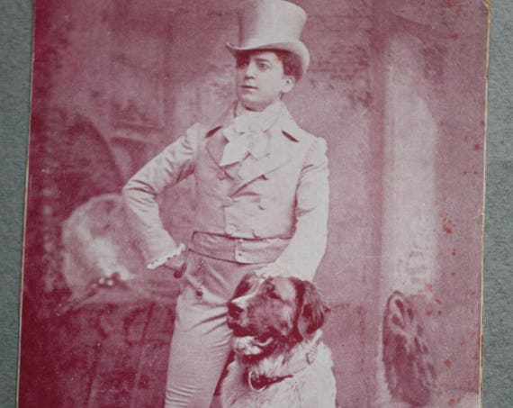 Antique Photograph of Chauncey Olcott and His Dog