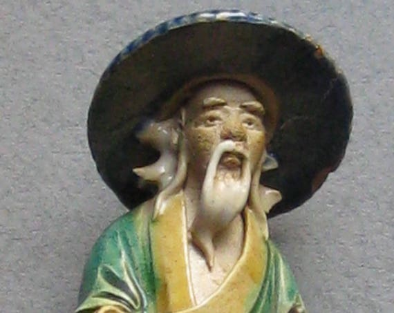 Antique Chinese Mud Man with Pipe and Bamboo Gourd