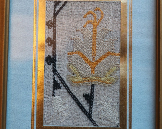 Framed French Floral Embroidery