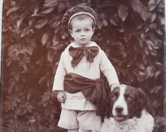 Antique French Photo of Boy with Dog
