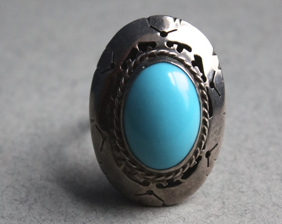 Sterling Silver and Sleeping Beauty Turquoise-Colored Stone Ring