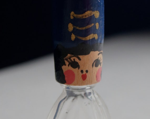 Miniature Perfume Bottle with Painted Wooden Head Cap