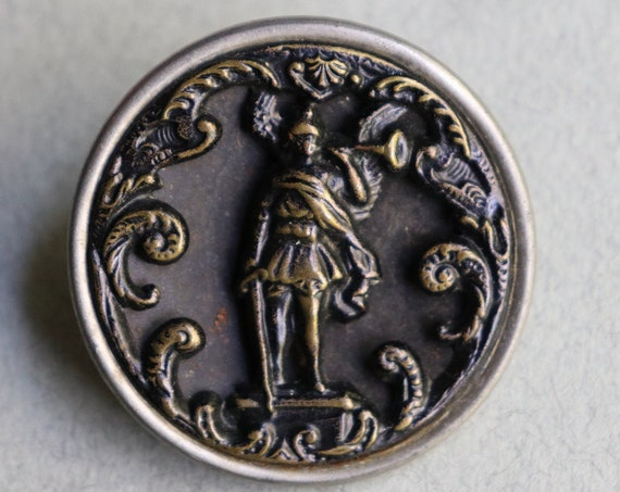 Archangel Michael, French, Antique, Pictorial Button