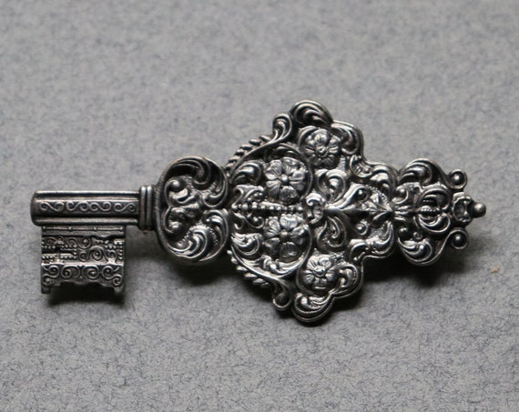 French, Ornate Key-Shaped Brooch, Circa 1930s