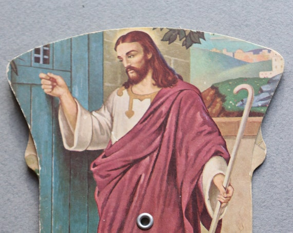 """Vintage """"Christ Knocking at the Door"""" Church/Advertising, Triptych Folding Fan, Circa 1950s"""