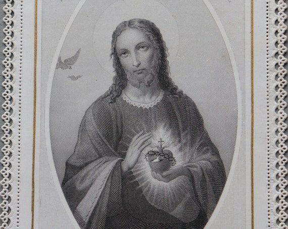 Antique, French Canivet of the Sacred Heart of Jesus by Ch. Letaille of Paris