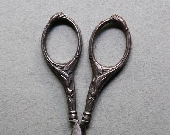 Antique, French Needlework Scissors with Bird Motif