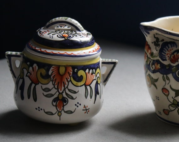 Rouen Sugar Bowl and Creamer from Mt. St. Michel