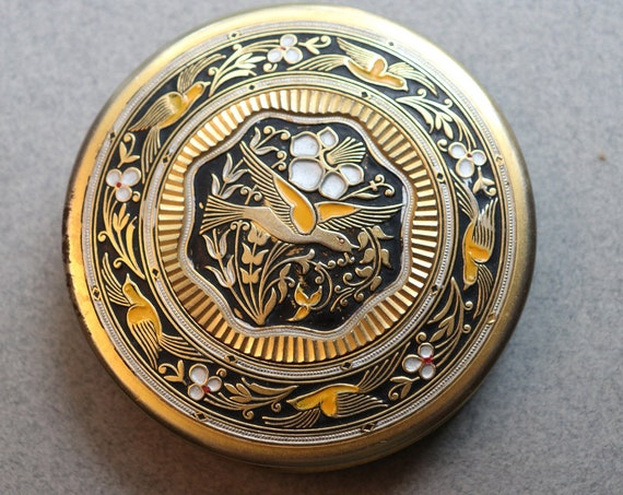 Toledoware or Faux Damascene Compact with Floral and Bird Motifs