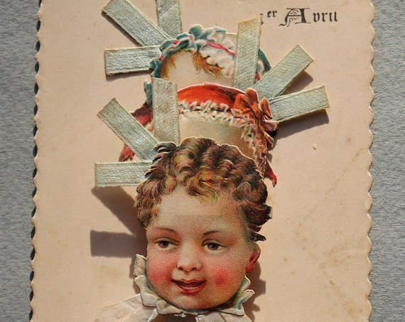 Antique, French, April Fool's Mechanical Postcard/Private Mailing Card with Babies
