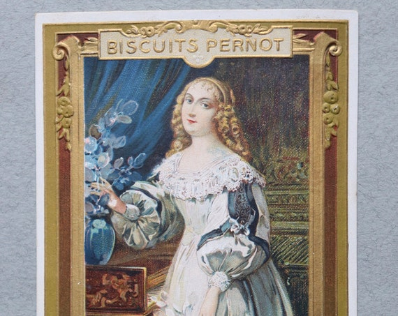 Antique, French Trade Card of the Duchesse de Longueville for Biscuits Pernot, by E. Pécaud and Company of Paris