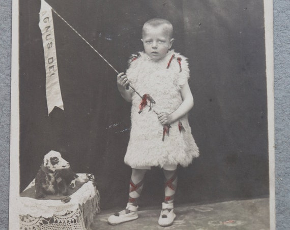 Antique, Belgian, First Communion, Agnus Dei Photo Postcard