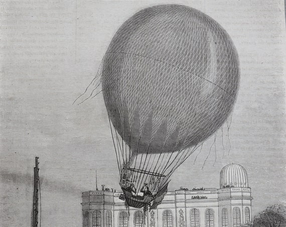 French Antique Engraving of Hot Air Balloon