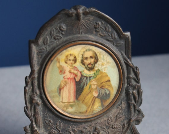 Antique French Icon with St. Anthony of Padua and the Christ Child