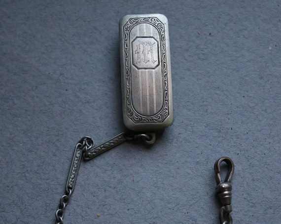 "Silverplate, Art Deco, Watch Fob for Belt, Monogram ""M"""