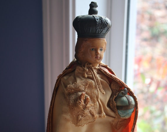 Infant of Prague Chalk Ware Statue with Vestment