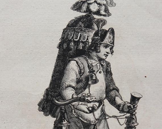 """Antique, Circa 1860s, French Engraving- """"Le Marchand de Coco"""""""