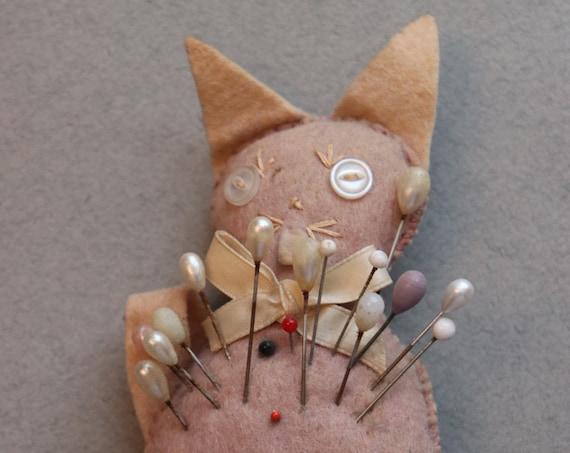 Vintage, Felt, Cat Pincushion with Pins