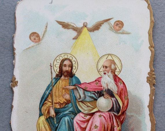Antique, French Trade Card Depicting the Trinity