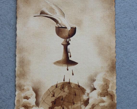 St. Esprit (Holy Spirit) Prayer Card from Noisy-le-Sec, France, Circa 1930s