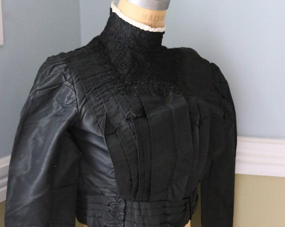 Victorian Black Silk Mourning Blouse