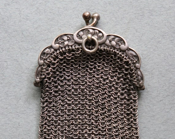 Antique, French, Chatelaine, Mesh Coin Purse with Boar's Head Hallmark