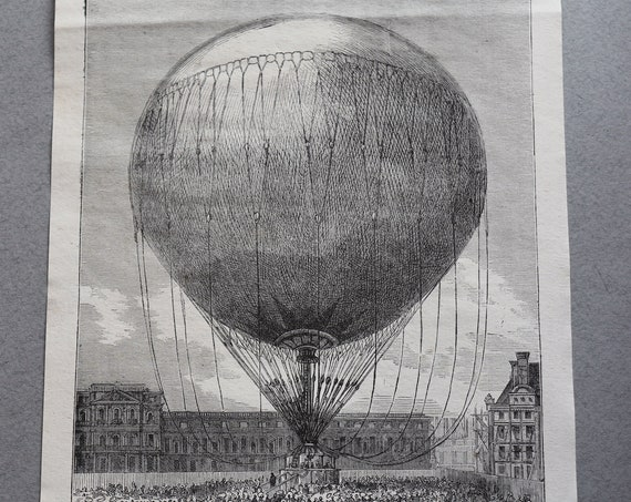 Antique French Engraving of Hot Air Balloon