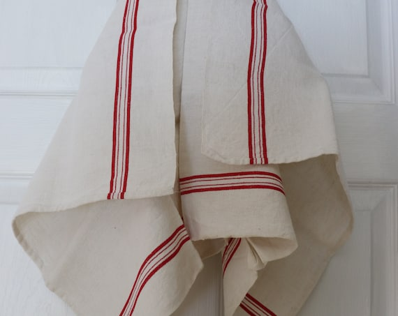 Red and White French Linen Tea Towel