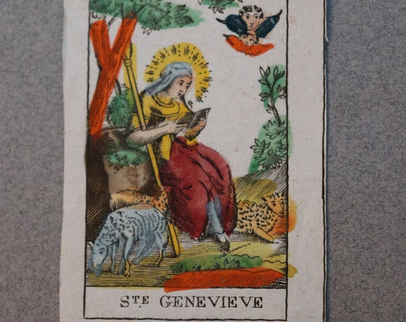 French, Polychromed, 18th Century Holy Card of Saint Genevieve