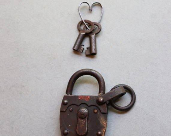 Antique, Working, French Padlock with Keys