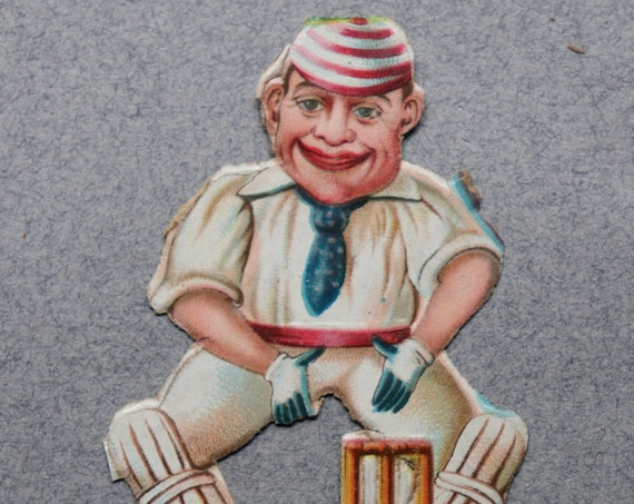 Antique, French Chromolithograph of Cricketeer