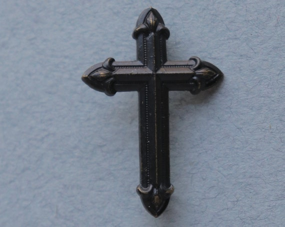 Antique, French,Mourning, Metal, Cross Brooch with Fleur-de-Lys