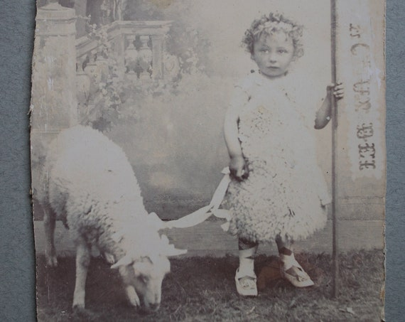 Auguste Dubois of Dinan Antique French Photograph of Little Girl with Lamb