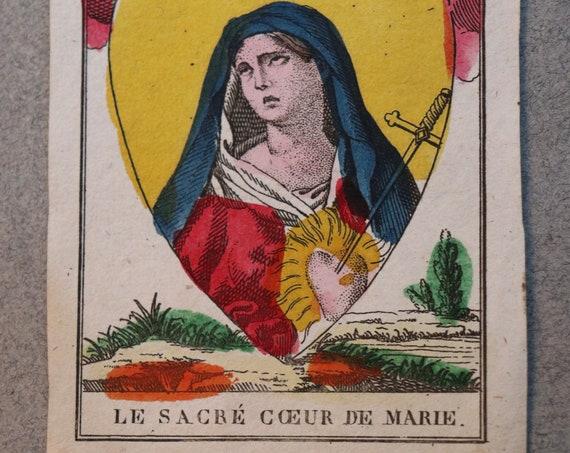 French, Polychromed, Eighteenth Century Holy Card of the Sacred Heart of Mary (Le Sacré Cœur de Marie)