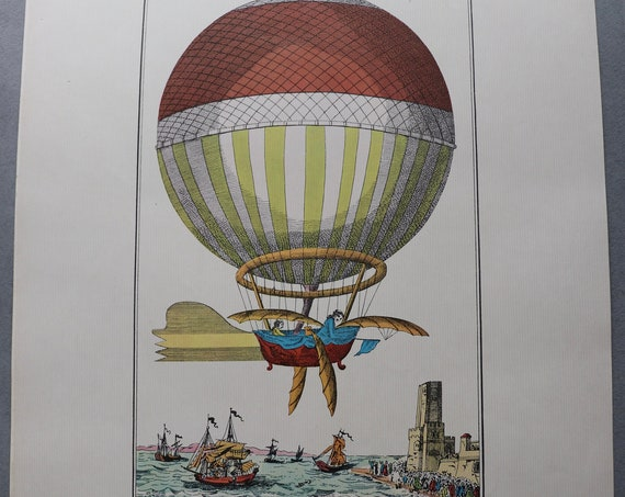 The First Channel Crossing by Air, 1785 Color Lithograph from Balloons by The Aerial Press