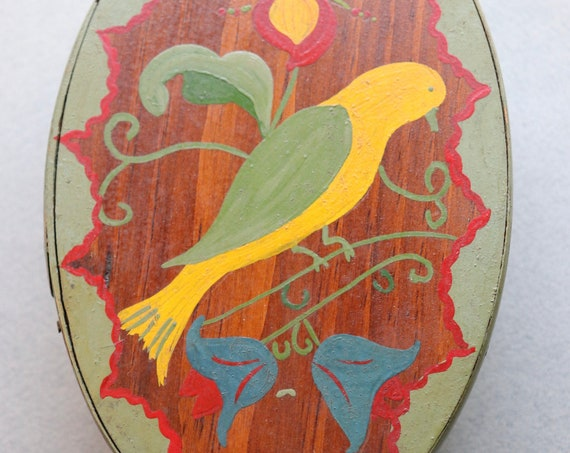 Handmade, Bentwood Painted Box with Bird and Floral Motifs