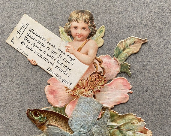 Antique, French, April 1 Chromolithograph of Cherub and Fish