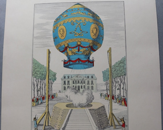 Premier Voyage Aérien 1783 Color Lithograph from Balloons by The Aerial Press