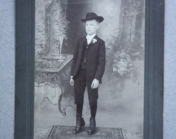 Unusual, Antique Cabinet Card of Young Boy with Brace, Special Shoe and Leg Length Discrepancy