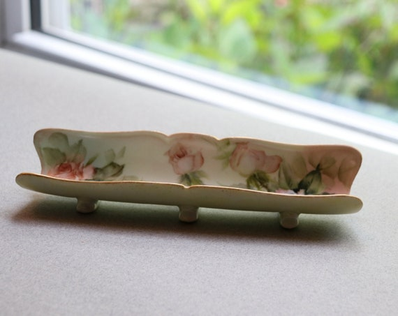 Antique, Hand-painted Porcelain Pen Tray with Roses and Gilt Trim