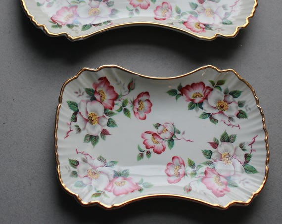Old Foley Porcelain Trays by James Kent, LTD of Staffordshire, England in Wild Rose