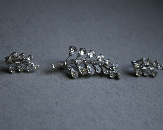 Carl-Art Signed, Sterling Silver and Rhinestone Brooch and Screw Back Earrings