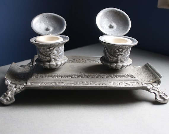 19th Century French Double Inkwell with Gargoyles and Gothic Scrollwork