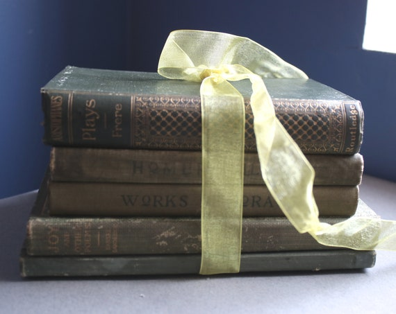 Stack of Antique Books in Shades of Green